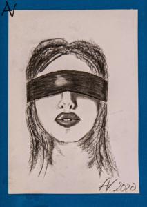 Portrait junge Frau mit Augenbinde, Kohle