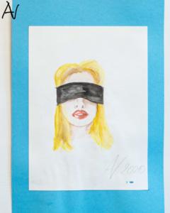 Portrait junge Frau mit Augenbinde, Aquarell