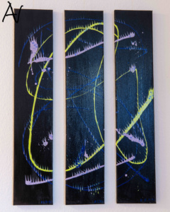 Triptychon Abstract Action Painting auf Schwarz No.I
