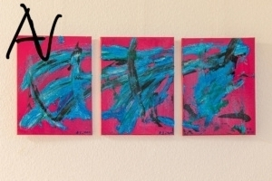 Triptychon Abstract Action Painting auf Pink No.VI