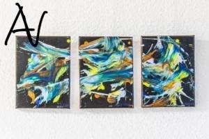 Triptychon Abstract Action Painting auf Schwarz No.VIII